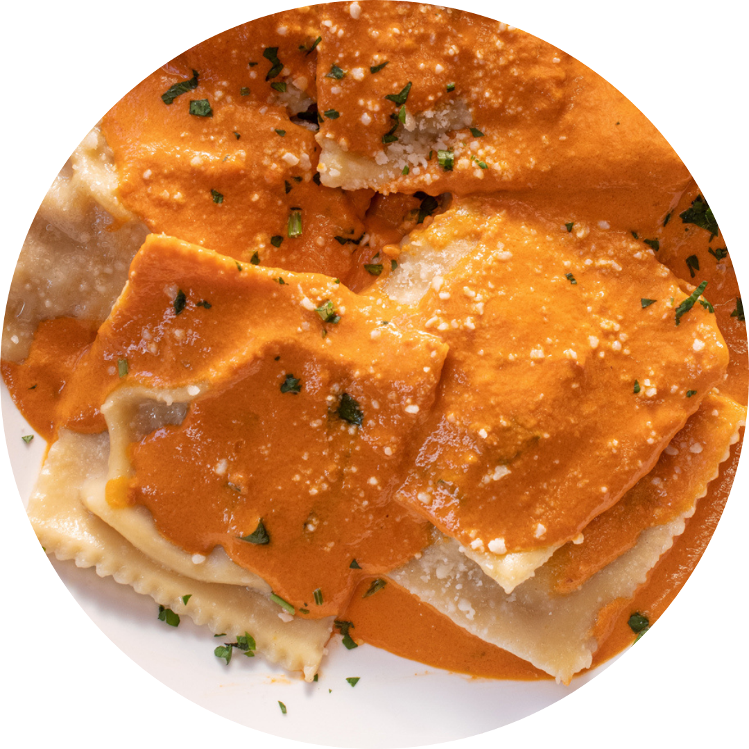 Cheese Rivioli with Vodka Sauce or Bolognese Sauce
